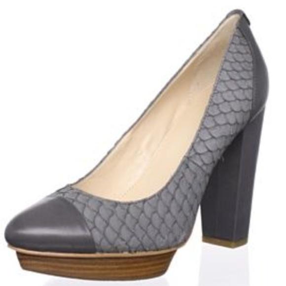 395042ad48dd Calvin Klein Shoes - CALVIN KLEIN KATHY LEATHER PLATFORM HEEL PUMP GRAY